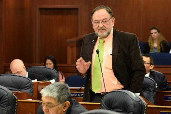 Rep. Wes Keller addresses the Alaska House of Representatives, March 16, 2014. (Photo by Skip Gray/360 North)