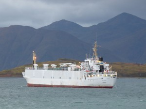 The livestock carrier Falconia in Unalaska Bay. KUCB/John Ryan photo.