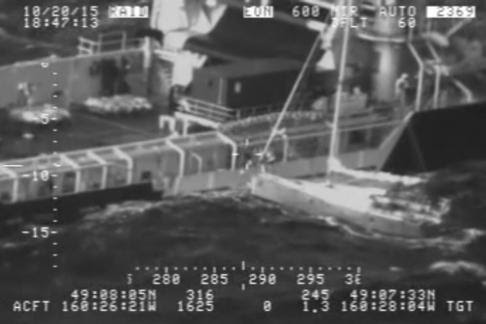 Motor vessel Tor Viking crew rescues a distressed mariner from his disabled 30-foot sailboat approximately 400 miles south of Cold Bay, Alaska, Oct. 20, 2015. The mariner alerted the U.S. Coast Guard with his emergency position indicating radio beacon. U.S. Coast Guard video.