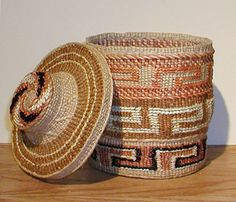 Delores Churchill made this basket showing the different techniques of the cresting wave.