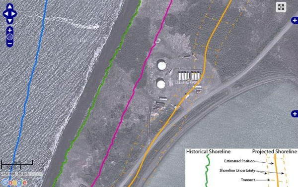 The site of Port Heiden's old tank farm and shorelines in 1983 (blue), 2009 (green), 2013 (pink) and projected location in 2035 (yellow) CREDIT ALASKA DIVISION OF GEOLOGICAL AND GEOPHYSICAL SURVEYS