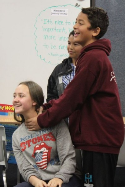 Eighth grader Beni Lata plays Othello. Izza Luna is Desdemona. (Photo by Lisa Phu/KTOO)