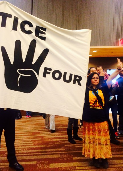 As an evidentiary hearing for the Fairbanks Four is underway, protesters make sure the men aren't forgotten at the AFN convention in Anchorage. Photo: Daysha Eaton/KBBI.