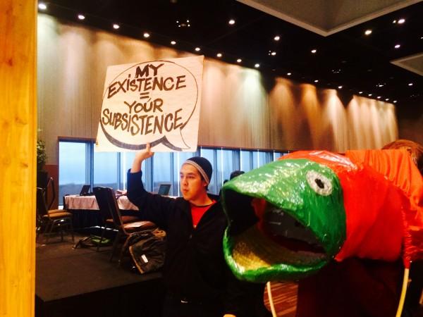 Protesters took aim at Sen. Lisa Murkowski over her crusade to open more of Alaska to resource development. Photo: Daysha Eaton/KBBI.