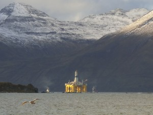 The sun sets on the Polar Pioneer in Unalaska's Broad Bay on Monday. (Photo by John Ryan, KUCB - Unalaska)