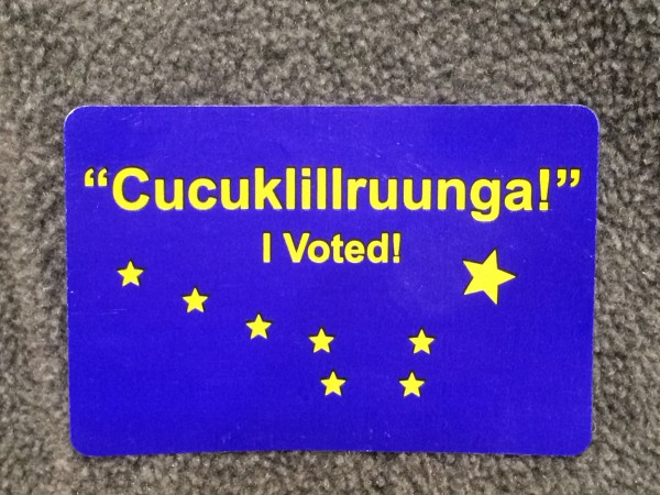 "Yup'ik and English""I Voted"" stickers from Bethel's municipal election. Photo courtesy of Anna Rose MacArthur / KYUK."