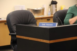 Dan Fauske's chair was vacant at the Saturday morning meeting of the AGDC board. Photo: Rachel Waldholz/APRN