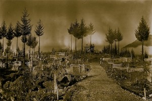The cemetery in the 1900s. Sam estimates it is the final resting place for 1600 bodies, 400 of which are marked. All are connected with the Russian Orthodox church and many are Tlingit. (Photo courtesy of Bob Sam)
