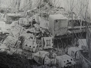 Sam began clearing the cemetery in 1986. The land had become a dumping ground for trash and partying. He found many pounds of beer cases and empty bottles. (Photo courtesy of Bob Sam)