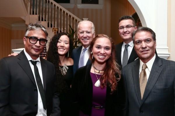 Tony Abeyta, Crystal Worl, Vice President Joe Biden, Courtney Leonard, Jeff Kahm and Dan Namingha at the Bidens' house on Oct. 27, 2015. (Photo © Tony Powell)