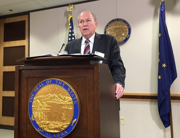 Governor Bill Walker during a press conference announcing a the publication of a report finding fault with the Department of Corrections over in-mate deaths. (Photo: Zachariah Hughes, KSKA)