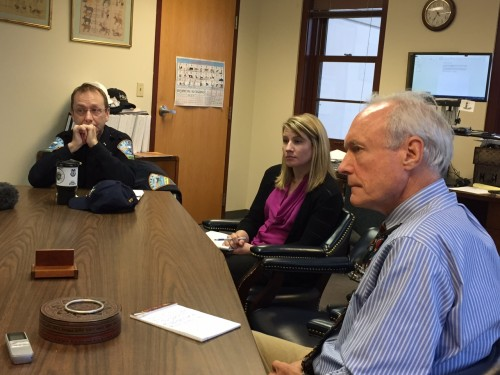 Sitka police chief Sheldon Schmitt (l), community planning director Maegan Bosak, and administrator Mark Gorman discuss the Hoogandorn case with reporters Tuesday (11-3-15). Schmitt says that police use tasers rarely — less than once per month — in Sitka. (KCAW photo/Emily Kwong)