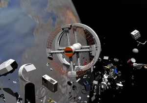 "A digital rendering of ""space junk"" by Miguel Soares, 2001, 3D animation. Accessed via Wikimedia Creative Commons."