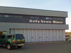 The front of the Fairbanks Daily News-Miner's headquarters, also known as the Aurora Building, in May 2009. (Creative Commons photo by James Brooks)