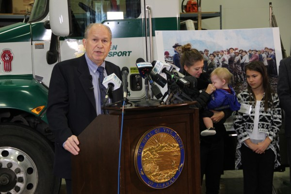 Gov. Bill Walker presented his budget with his daughter and grandson by his side, along with Palmer seventh-grader Shania Sommer, who announced the 2015 PFD. Photo: Rachel Waldholz/APRN