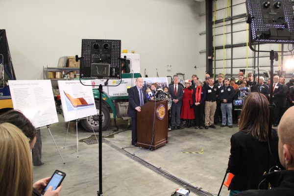 Gov. Bill Walker presented his budget plan in an event at the Lynden Hangar on Dec. 9, 2015. Photo: Rachel Waldholz/APRN