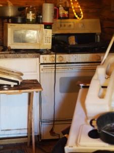 The small kitchen in Scott's cabin. Photo: Zachariah Hughes.