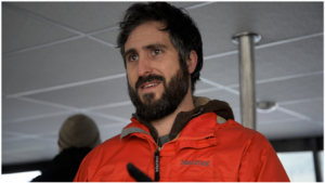 Andy Szabo speaking during a 2015 Whalefest cruise in Sitka. (UAS photo/Owen Kindig)