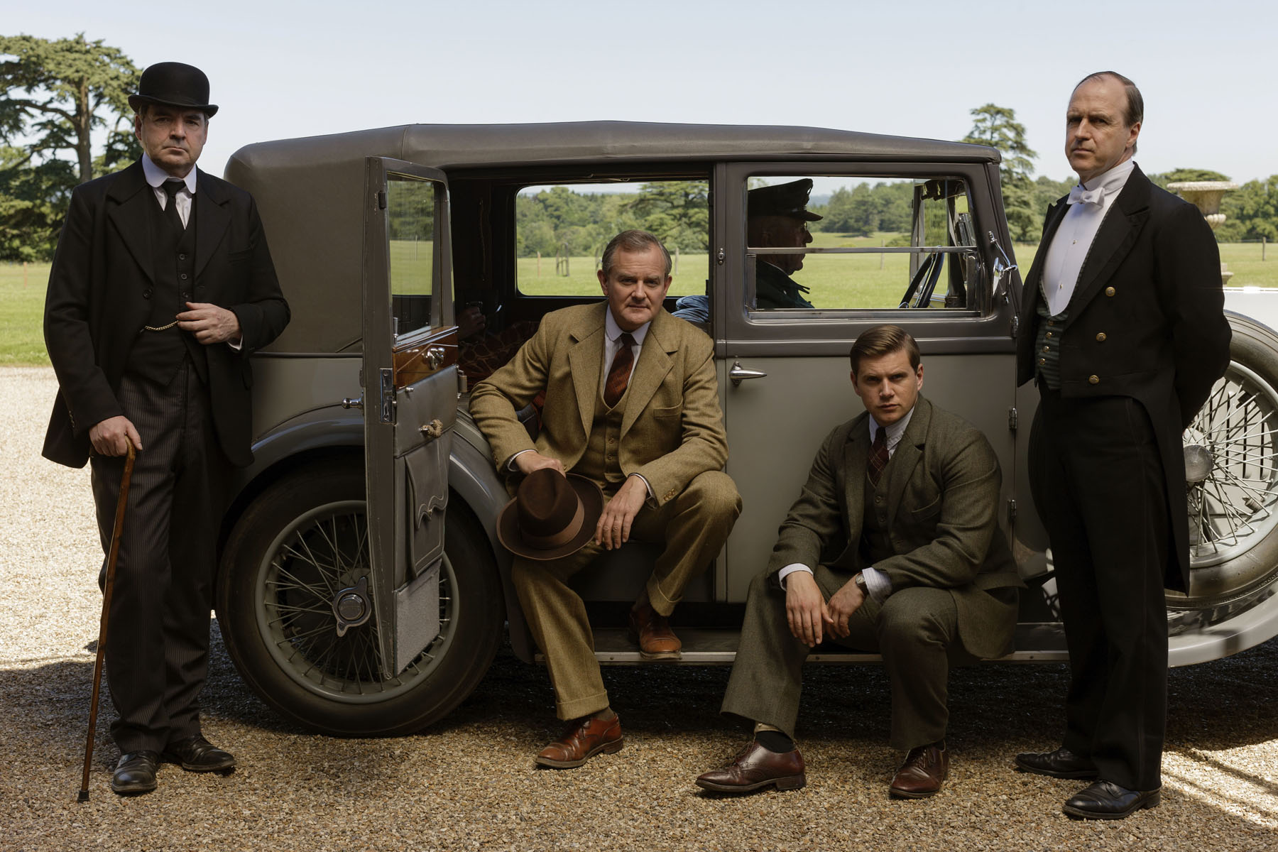 Brendan Coyle as Bates, Hugh Bonneville as Lord Grantham, Allen Leech as Tom Branson, and Kevin Doyle as Molesley Photo by (C) Nick Briggs/Carnival Film & Television Limited 2015 for MASTERPIECE)