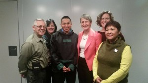 Esau Sinnok, 18, of Shishmaref, with Interior Secretary Sally Jewell and others at the COP21 climate meeting in Paris. Photo: Department of the Interior