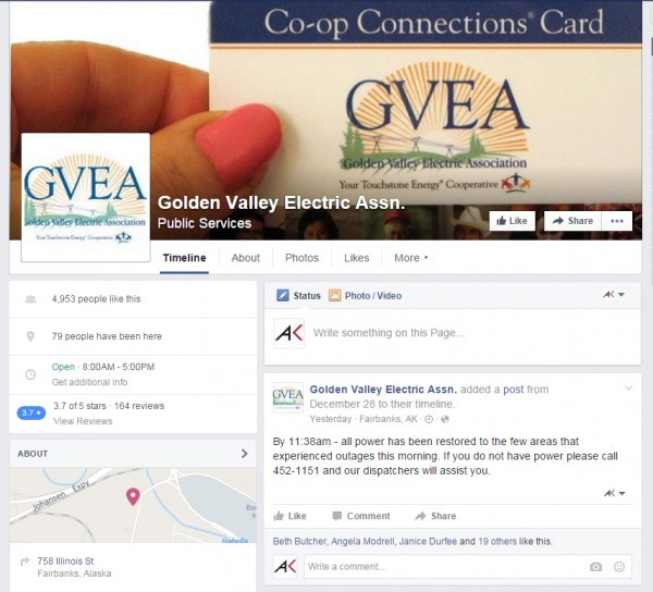 Golden Valley is advising users to check its Facebook page for current outage updates.