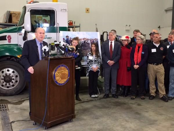Gov. Walker unveils his budget plan on Wednesday, Dec. 9. Photo: Rachel Waldholz/APRN.