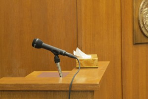 Witness stand in Bethel courthouse courtroom. (Photo by Lakeidra Chavis/KYUK)