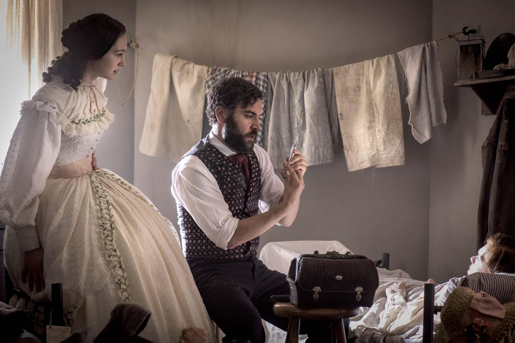 Emma Green (Hannah James) and Jedediah Foster (Josh Radnor). (Photo Courtesy of Antony Platt/PBS)