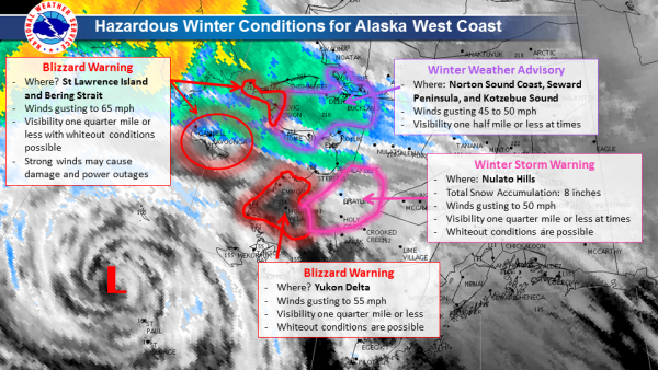 After sweeping through the western Aleutian chain, the storm's turned north and is headed for the central Bering Strait. Several communities are under storm watch.