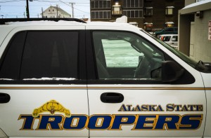 An Alaska State Trooper cruiser parked on Nome's Front Street in January 2015. (Photo by Matthew F. Smith/ KNOM)