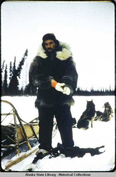 Sidney Huntington on the trapline, 1958. Photo: Alaska State Library, Keller Family Photo Collection.