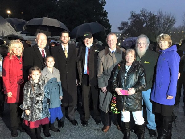 Alaska's Congressional delegation poses with Gov. Bill Walker, John Schank of Lynden Transportation and 10-year-old Anna DeVolld, who lit the tree with House Speaker Paul Ryan. Photo: Sen. Lisa Murkowski's Facebook page.