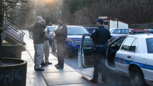 Juneau police investigate the scene of the murder on Douglas Island Thursday morning (Photo by Elizabeth Jenkins/KTOO)