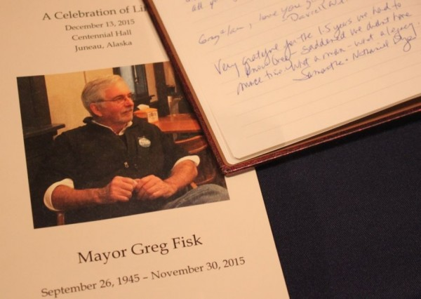 Many signed the guest book at the celebration of life for Greg Fisk on Sunday. (Photo by Lisa Phu/KTOO)