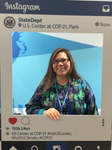 Kotzebue city council member Maija Katak Lukin is in Paris fort he COP21 climate talks. Photo from Lukin's Facebook page.