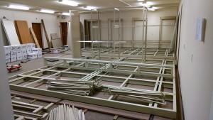 Shelf parts waiting to be assembled. (Helen Alten)
