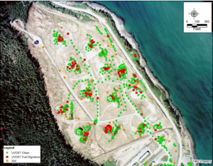 The former tank farm. Red dots show locations where potential contamination was found. Green dots are sites that were tested and no contamination was found. (Image courtesy of North Wind, Inc.)