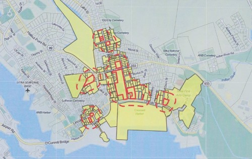 At its Tues., Jan. 12, meeting, representatives from Sitka's Marijuana Advisory Committee advocated for a 200-foot setback distance that would allow cannabis business to develop downtown (Map courtesy of CBS. Shared via KCAW.org.)