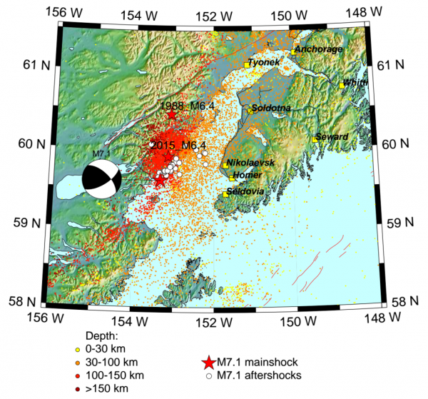 Map of aftershocks from Sunday's 7.1M earthquake. Photo: Alaska Earthquake Center at UAF.