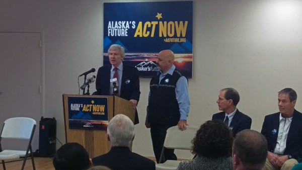 GCI CEO Ron Duncan (left) and AFL-CIO President Vince Beltrami (right) kick off the Alaska's Future coalition campaign. (Photo by Josh Edge/APRN)