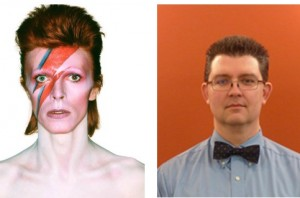 Left: David Bowie, rock icon. Right: David Bowie, Alaska linguistics professor.