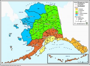 The Alaska Department of Fish and Game divides the state into Game Management Units, some of which are designated for intensive management of predators. (Credit ADF&G)