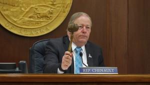 Speaker of the House Mike Chenault, R-Nikiski, wields the gavel of the second regular session of the 29th Alaska State Legislature on Jan. 19, 2016. Photo: Skip Gray/360North