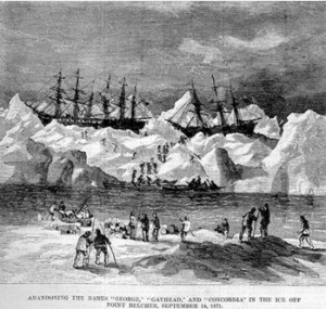 Abandonment of the whalers in the Arctic Ocean, September 1871, including the George, Gayhead, and Concordia. Scanned from the original Harper's Weekly 1871. Image courtesy of Robert Schwemmer Maritime Library.