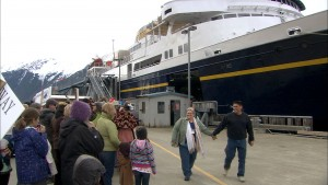 Passengers disembark the ferry Malaspina in Skagway during its 50th anniversary sailing. Most ferry fares went up Jan. 1. (Photo by Mikko Wilson/360 North)