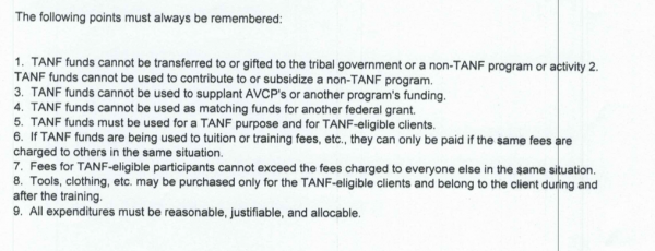 TANF fund commandments