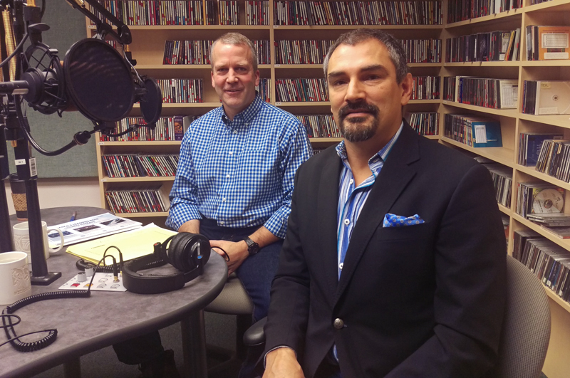U.S. Sen. Dan Sullivan (left) and Alaska Arctic Adviser Craig Fleener in the Talk of Alaska studios. (Photo by Josh Edge/APRN)
