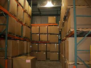 Boxes of seafood are stacked in the cold storage holding room. (Photo courtesy Petersburg Economic Development Council)