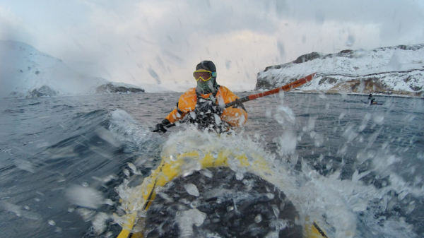 A GoPro mounted on his kayak snapped this pic of Good on his 300th day of paddling in 2015. Photo: Josh Good.