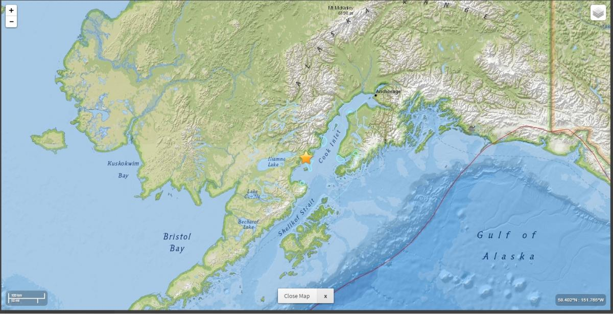 A magnitude-7.1 earthquake struck in Cook Inlet early Sunday morning, the largest ever recorded in Cook Inlet. (Photo by United Geological Survey)